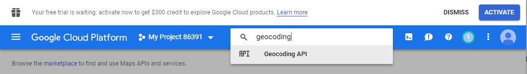 Searching for Geocoding API