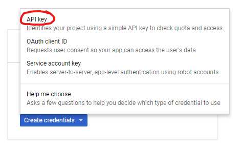 select API key